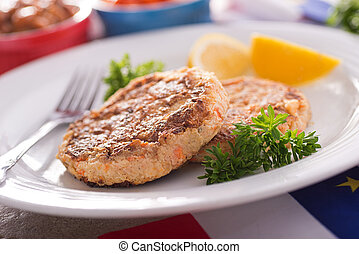 Fish Cakes - Homemade acadian style fish cakes with baked...