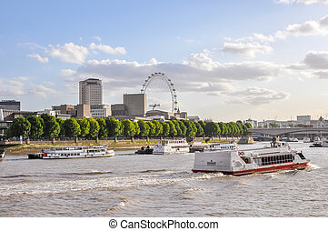 Boats on River Thames in London, United Kingdom