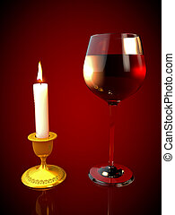 glass of red wine and a candle on a red background
