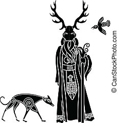 Druid with ritual mask, wolf and a bird, Celtic style