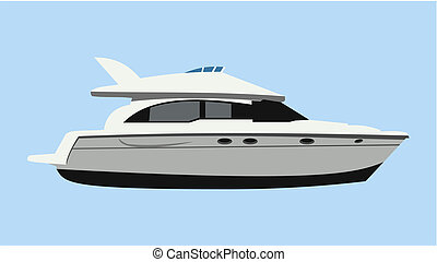Motorboat - Cruising motor yacht on blue background