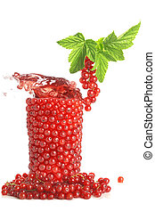 Glass of berries with juice