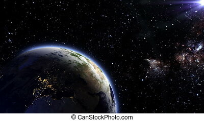 Earth and moon - The moon orbit and rotating around the...