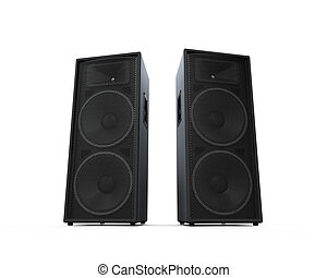 Large Audio Speakers isolated on white background. 3D render