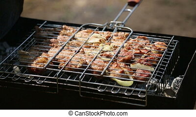 Kebab grills - Preparing meat on the grill