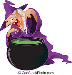 Cartoon Witch - Vector image of an evil Cartoon Witch