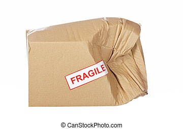 Damaged cardboard box, isolated on white background