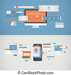 Website development concept - Set of flat design concepts...