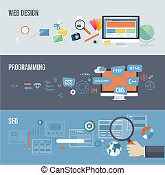 Flat concepts for web development - Set of flat design...