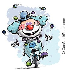 Clown on Unicycle Juggling Boy Colors - Cartoon-Artistic...