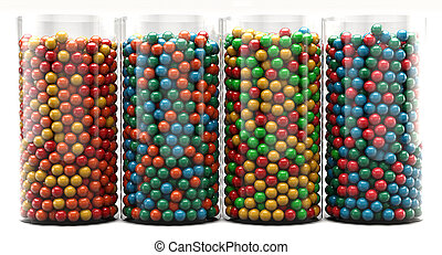 Colorful Bubble Gum - Colorful chewing gums in a glass jar....