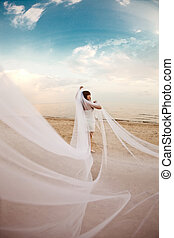Beautiful bride with a long veil on the beach at sunset -...