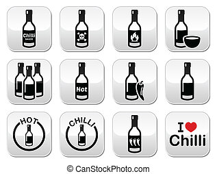 Hot chilli, chili sauce bottle butt - Vector buttons set of...
