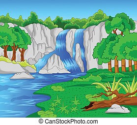 Beautiful waterfall - vector illustration of Beautiful...