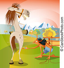 Catch a horse - Illustration of a young native american boy...