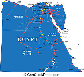 Egypt map - Highly detailed vector map of Egypt with...