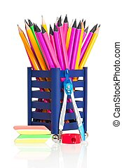 Bright stationery - Wooden pencils with bright stationery...