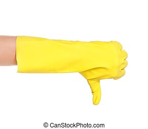 Thumb down - Female hand in a rubber glove showing a thumb...