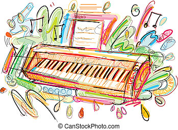 Colorful Keyboard - This Keyboard Sketch was painted in...
