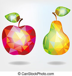 Polygonal fruit apple and pear