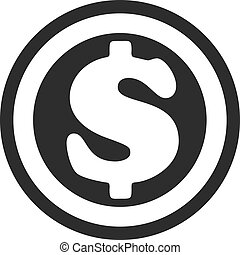 Vector Coin Flat Icon Sign of money