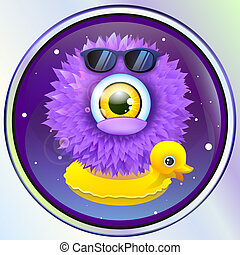 wooly alien monster with duck in space vector