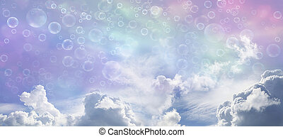 Fantasy Wide Blue Sky and Bubbles - Wide multicolored sky...
