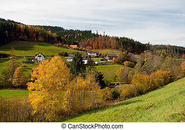 Black Forest Germany - Panoramic view of the village in the...