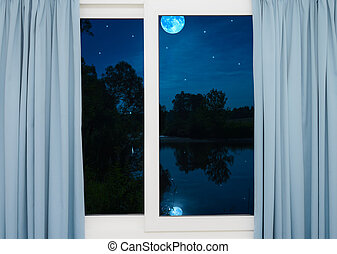 window view of the full moon - view from the window night...