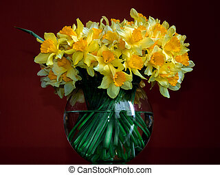 daffodils in a round vase. bouqet