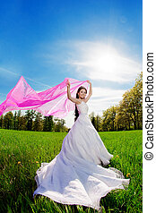 Bride on a field in the sunshine - Beauty bride on a field...