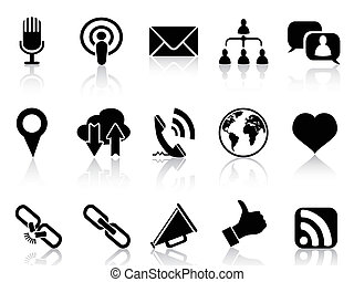 black social communication icons se - isolated black social...