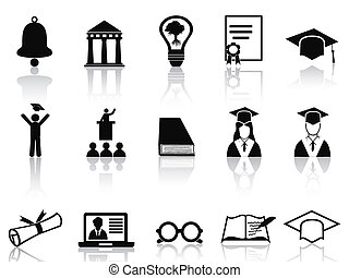 black college icons set - isolated black college icons set...