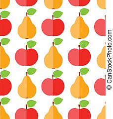 Cute flat apples and pears, food seamless pattern