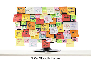 Monitor with post-it notes - Computer monitor with post-it...