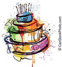 Birthday Cake - Vectorimage was analog created and traced in...