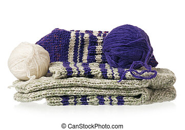 Knitted socks - Warm knitted socks with threads over white...