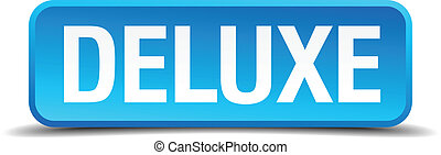 deluxe blue 3d realistic square isolated button