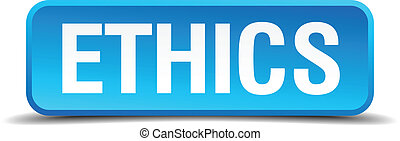 ethics blue 3d realistic square isolated button