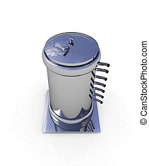 3d abstract metal pressure vessel on white background