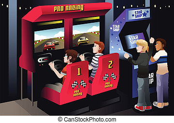 Boys playing car racing in an arcade
