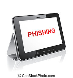 tablet computer with text phishing on display over white