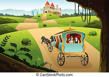 Prince and princess riding a wagon - A vector illustration...