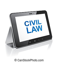 tablet computer with text civil law on display