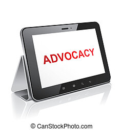tablet computer with text advocacy on display over white