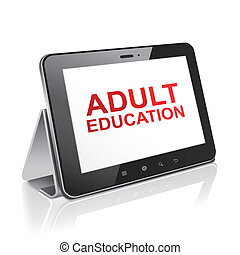 tablet computer with text adult education on display over...