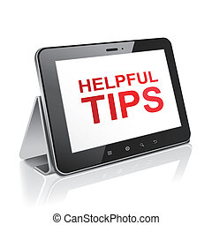 tablet computer with text helpful tips on display over white...