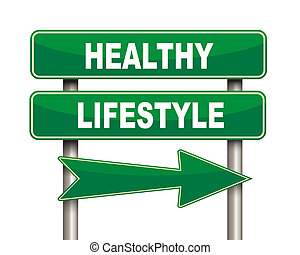 Healthy lifestyle green road sign