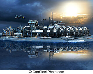 Futuristic city with marina - Science fiction cityscape with...
