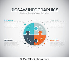 Jigsaw infographics vector business puzzle piece fresh...